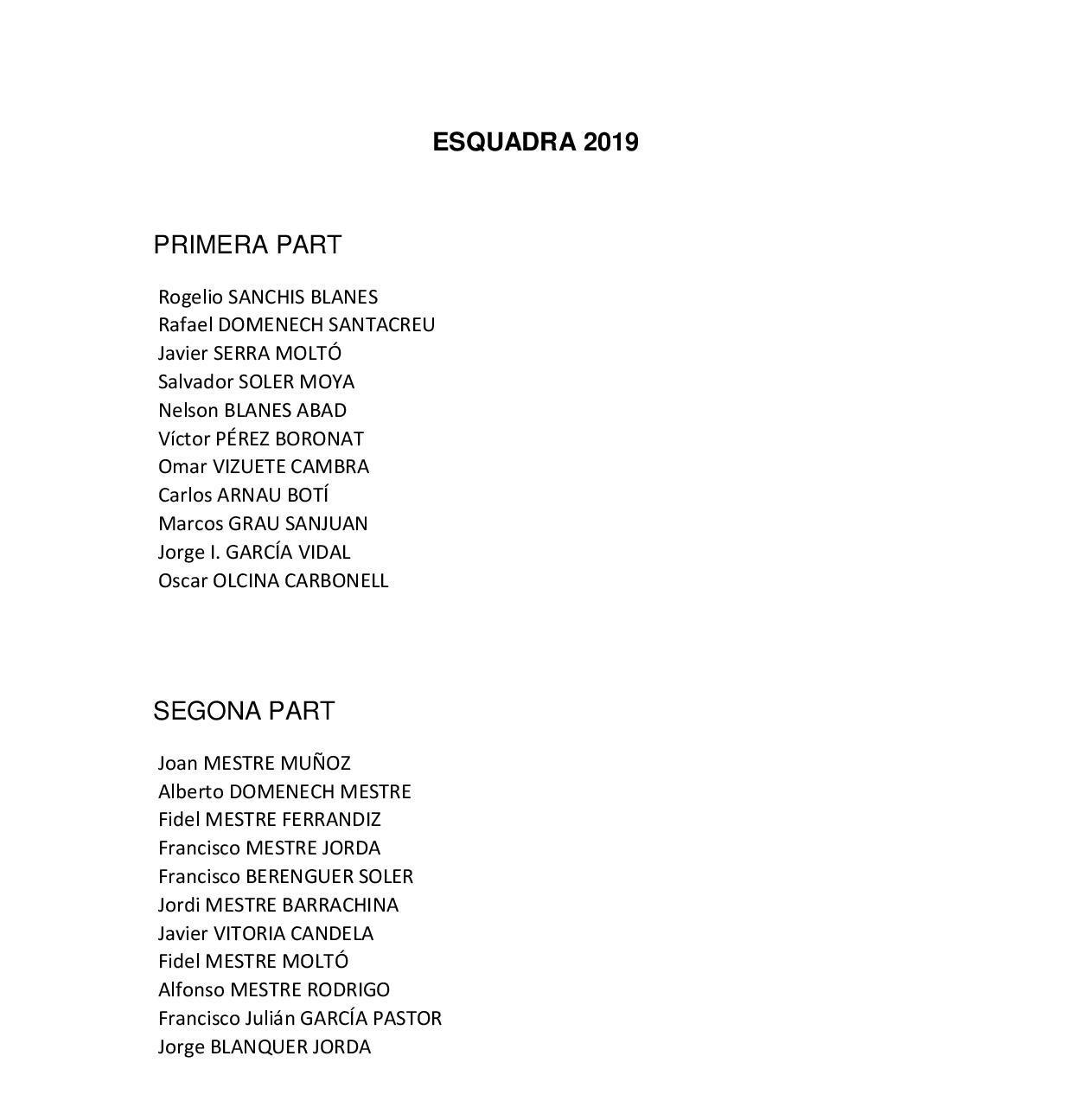 Esquadra 2019